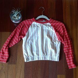 Asos. Raglan style crop top. Red & white.